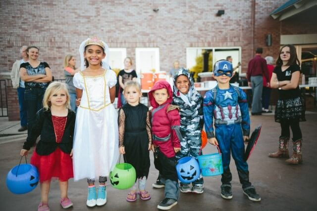 Kids in costumes for Halloween