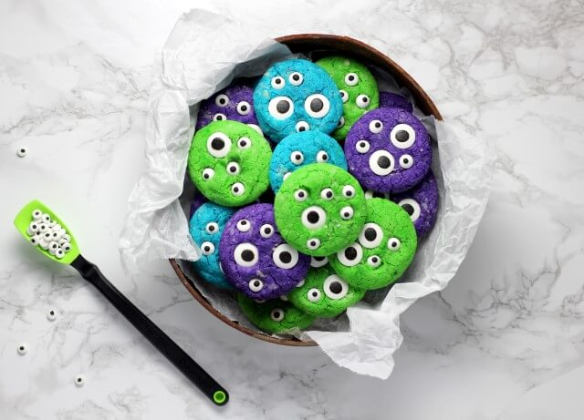 colorful cookies with monster eyes